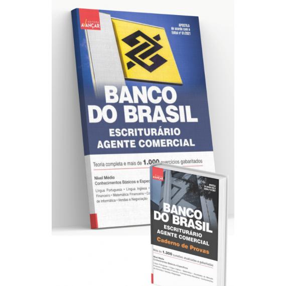 BANCO DO BRASIL - BB - Escriturário - Agente Comercial: COMBO: Apostila Completa + Caderno de Provas - E-book
