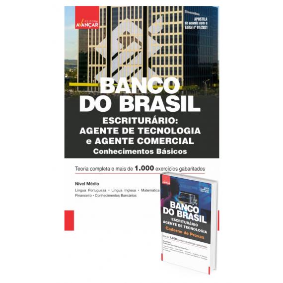 BANCO DO BRASIL - BB - Escriturário - Agente de Tecnologia : COMBO: Apostila Conhecimentos Básicos + Caderno de Provas - Impresso