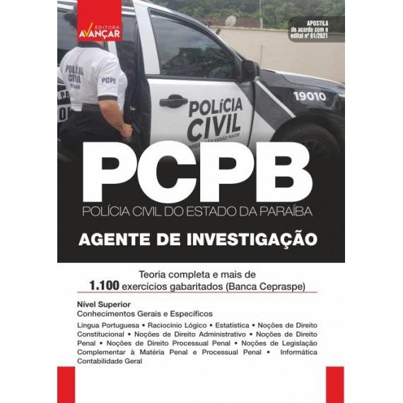 PC PB - Agente de Investigação da  Polícia Civil - Edital 2021: E-book